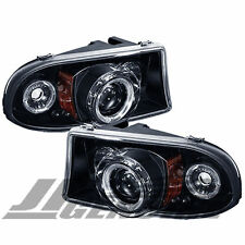 LED DUAL HALO PROJECTOR HEADLIGHTS BLACK - DODGE DAKOTA 97-04 / DURANGO 98-03