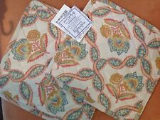 APRIL CORNELL NATURALLY BEAUTIFUL POT HOLDERS CREAM BLUE CORAL (2) NWT