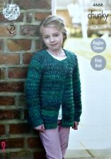 KNITTING PATTERN Girls Easy Knit Long Sleeve Cardigan Chunky 4668 King Cole