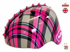 New  Krash Plaid Pyramid Studs Helmet  * Pink Rubber Studs * Childrens Ages 8+