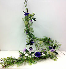 Morning Glory Blossom Greenery Wired Garland. 5 ft. Long. Purple, Lavender,Green