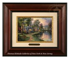 Thomas Kinkade Hometown Lake - Brushwork (Burl Frame)