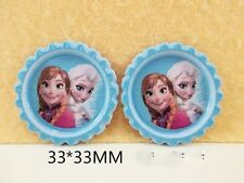 5 X 33mm PRINTED ELSA + ANNA ARNA FROZEN BOTTLE CAPS HEADBAND BOWS LOOK SALE