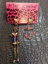 Betsey Johnson Pierced  Sailor Girl Mismatched Hanging Earrings New