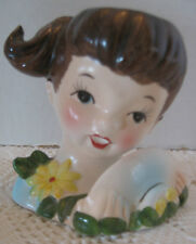 "Vintage Little Girl Lady Head Vase - 3"" - Japan - Good Condition"