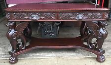 R. J. HORNER CARVED MAHOGANY WINGED GRIFFIN LIBRARY TABLE
