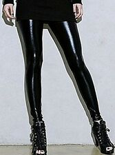 Womens Faux Leather Shiny Stretch Leggings Pants Ladies Gold Silver Black Blue