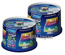 100 Verbatim Bluray 6x Speed 25 GB BD-R Blu-ray Blank Media Printable Spindle