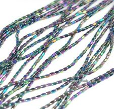 4X2MM TITANIUM RAINBOW HEMATITE GEMSTONE ROUNDED RECTANGLE LOOSE BEADS 16""