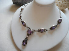 Vintage Sterling Silver Oxidized Amethyst Lavalier Necklace  558210