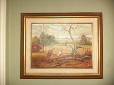 VINTAGE J HOLDEN TEXAS ORIGINAL ART OIL PAINTING DOG HUNT SCENE BIRD GOLD FRAME