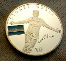 Lionel Messi Silver Coin Football Signed Barcelona Badge Super Star Sports OLD