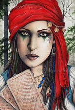 Fantasy Art LARGE SIZE PRINT gypsy fortune teller tarot cards seer psychic wc