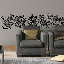 BLACK DAMASK Vintage Floral Scroll Ornate Decor Wall Mural Decals Stickers Decor