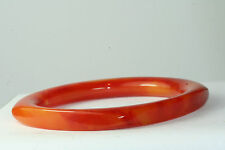 VINTAGE RED & YELLOW SWIRL BAKELITE SQUARE ROUND BANGLE BRACELET