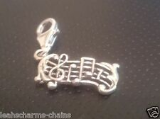 Music Score 925 Sterling Silver Clip On Charms - With 11mm Clasp Sheets
