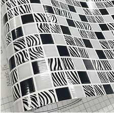 Zebra Tile White Black Home Deco Self Adhesive Peel-Stick Wallpaper