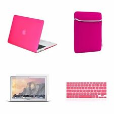 "4 IN 1 Macbook Air 13"" Hot Pink Rubberized Hard Case + Keyboard Skin + LCD + Bag"
