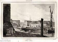 Porto Torres:Panorama.Sassari.Sardegna.Acciaio.Stampa Antica + Passepartout.1839