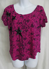Authentic Icon Womens Size XS Short Sleeve Pink Black Star Shirt Top Sequins