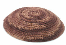 Knitted KIPPAH with Brown Mosaic spiral Design. . . . Yarmulke Kippa Kipa Israel