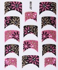 Nail Art Decal Stickers Glitter Nail Tips Pink Black Gold Flowers JC109