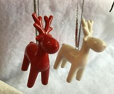 7.5cm Christmas Red White Reindeer Hanging Decoration Tree Ceramic Retro