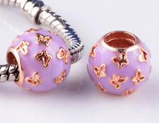 2pcs Painted purple Butterfly big hole Beads Fit European Charm Bracelet HH893