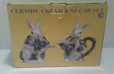 "CERAMIC CREAM and SUGAR SET HAND PAINTED RABBIT BUNNIES Size 6"" H"