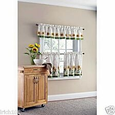 Complete 3 Pc Sunflower Kitchen Curtain Set Valance Tiers Country Small Windows