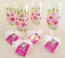 4 Champagne Flute Pink Flowers Hand Painted Wine Bar Glasses