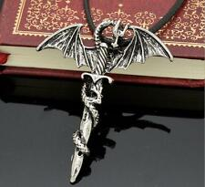 Cool stainless steel Harley punk Dragon Sword Cross Necklace Pendant HQ