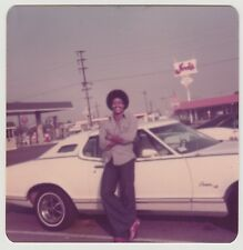 Square VINTAGE 70s PHOTO Young Black Man Guy w/ Afro Standing By Car Soft Focus
