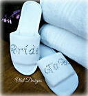 PERSONALISED SLIPPERS DIAMANTE WEDDING SPA GUEST SHOES TOWELLING SILVER FANCY