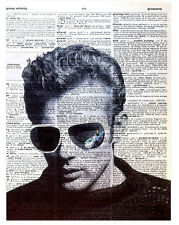 Art N Wordz James Dean Glasses Original Dictionary Page Pop Art Desk/Wall Print