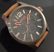 Men's Large Hugo Boss Paris Genuine Designer Watch 1513240 Brown Khaki Orange
