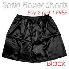 Black Men's Silk Satin Underwear Homewear Underpants Boxer Shorts Buy 2 get 1