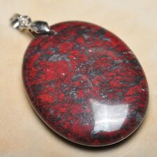 "Extremely Red Natural Bloodstone 925 Sterling Silver Clasp 2"" Pendant #P12144"