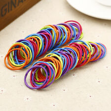 100pcs Rubber Hairband Rope Ponytail Holder Elastic Hair Band Ties Plaits Womens