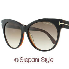 Tom Ford Cateye Sunglasses TF330 Saskia 03B Black/Havana 330