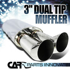 "3"" DUAL SLANT SLASH TIP 2.5"" INLET STAINLESS STEEL EXHAUST MUFFLER"
