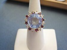 Beautiful Vntg 14k Gold BLUE TOPAZ Rubies Diamonds halo Cocktail Ring sz7 ladies