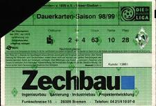 Ticket BL 98/99 Dauerkarte SV Werder Bremen, Jahreskarte Weser-Stadion