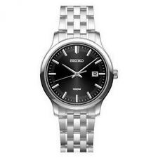 Seiko SUR145P1 Gents 100m Steel Black Dial Date Watch RRP £159 Official Stockist