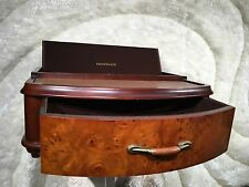 GORGEOUS FRONTGATE WOODEN BURLWOOD TOP LEATHER CHARGING STATION WOOD DRAWER BOX