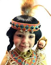 "Prestige Kingstate LE Native American Indian 18"" Porcelain Bisque Doll w/Papoose"
