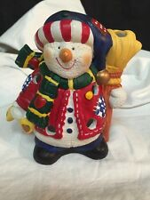 "Resin Christmas Winter Snowman Votive Candle Holder 5""x4"""