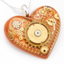 STEAMPUNK HEART NECKLACE PENDANT GEARS STERLING SILVER COPPER RESIN HAND MADE
