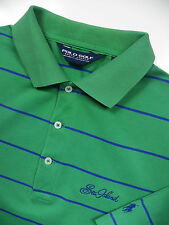 RALPH LAUREN MEN MEDIUM GOLF POLO SHIRT RARE SEA ISLAND LOGO GREEN PURPLE STRIPE