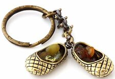 Baltic Amber Nuggets Keychain Keyring Brass Bast Shoes Sandals Russian Lapti
